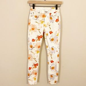 7 For All ManKind High Rise Floral Skinny Jeans 24